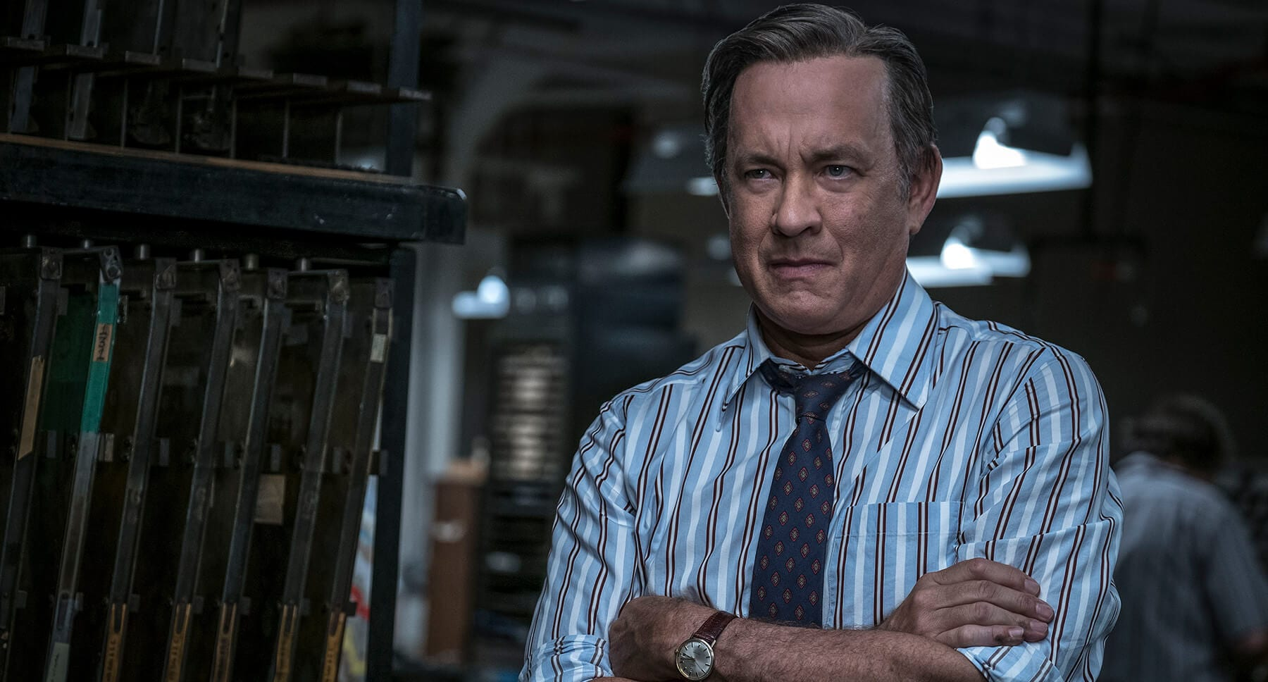 "Actor Tom Hanks as Ben Bradlee in ""The Post"""