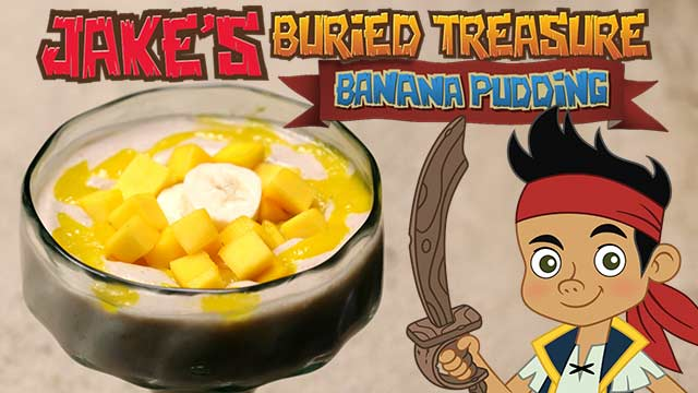Dishes Inspired By Disney: Jake's Banana Pudding with Mango Purée and Banana Sliced Doubloons & Mango Gold Bars