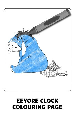 Eeyore Clock Colouring Page