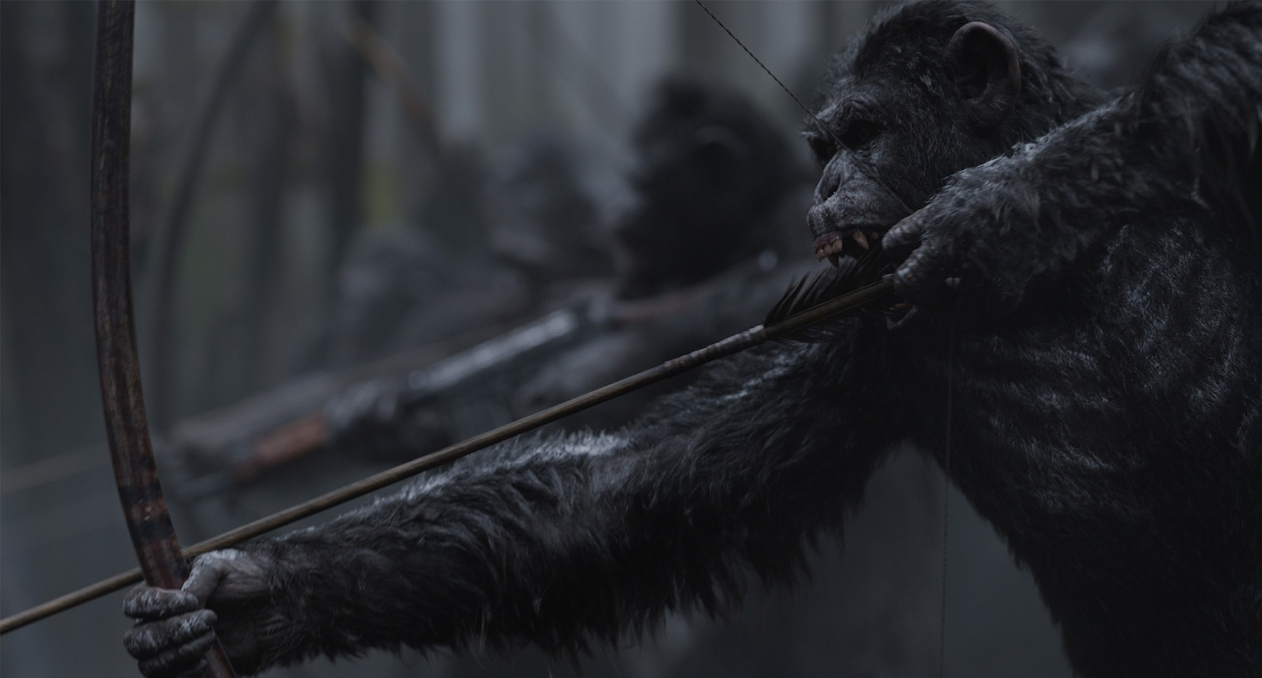 "An ape with a bow and arrow in the movie ""War for the Planet of the Apes"""
