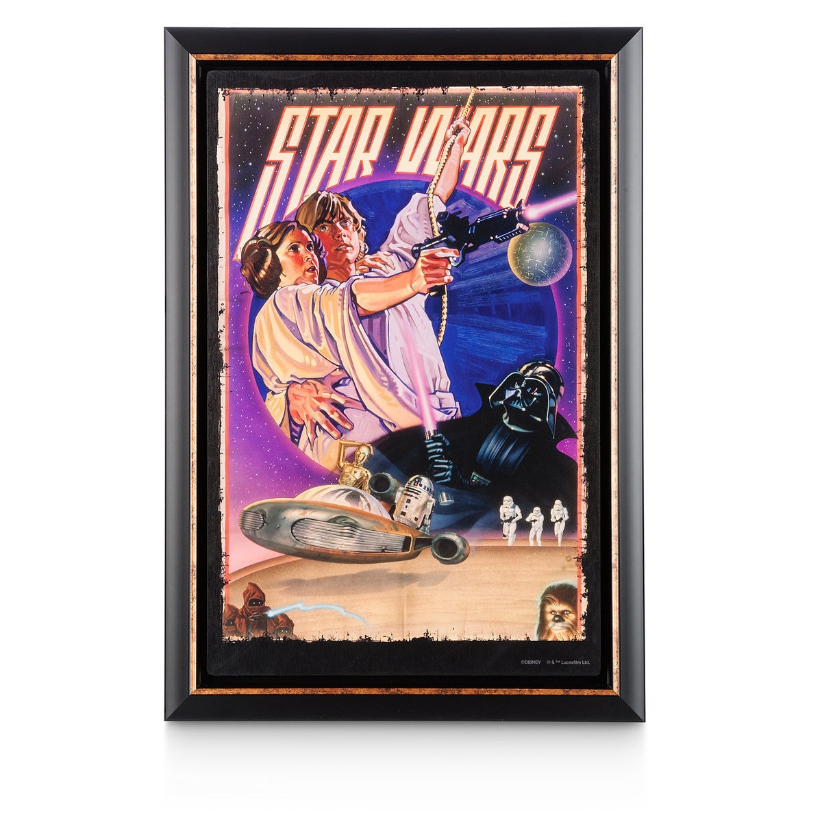 star wars movie poster reproduction metal print retro framed