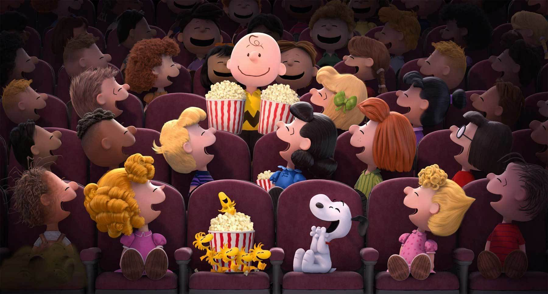 "Charlie Brown, Snoopy and the rest of the Peanuts gang from ""The Peanuts Movie"" at the movie theater"