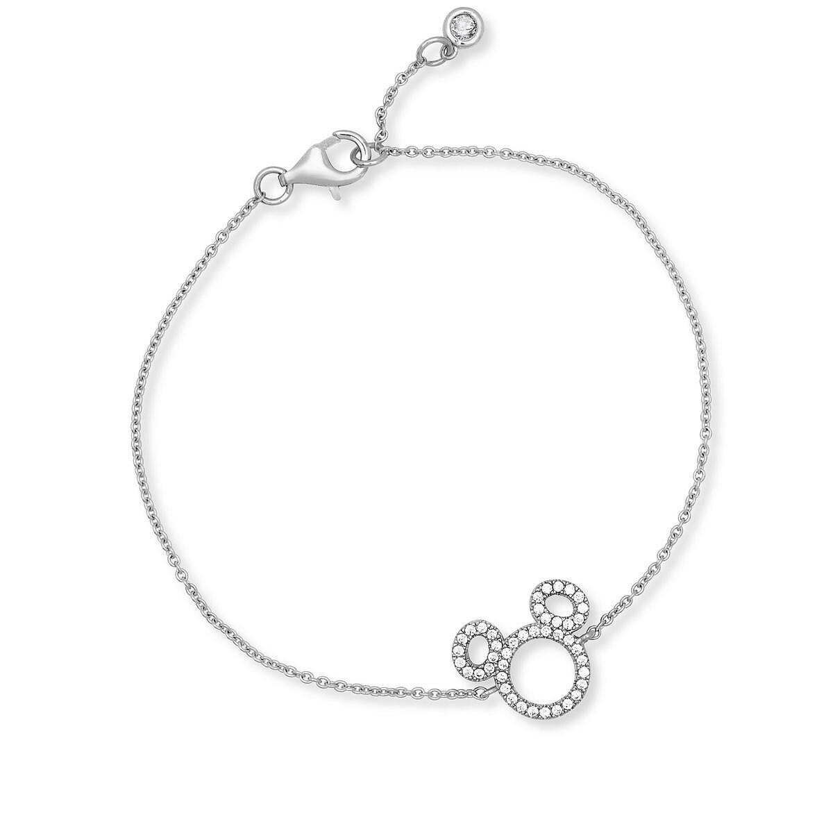 7774e4a2e Product Image of Mickey Mouse Icon Silhouette Bracelet by CRISLU - Platinum  # 1