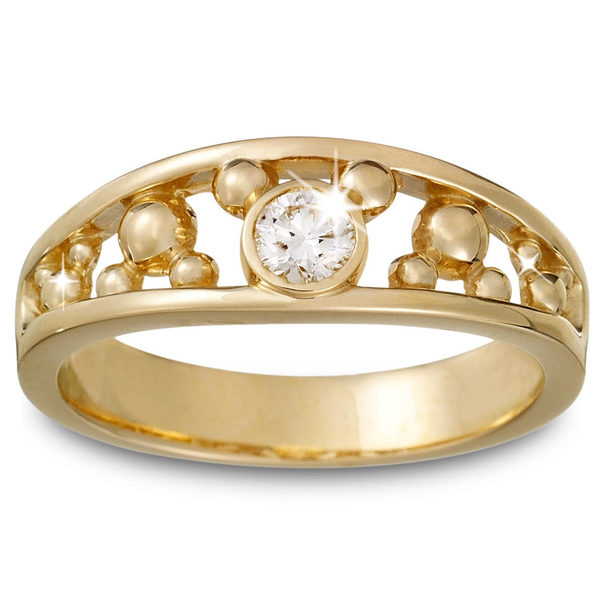 diamond mickey mouse icon ring for men 14k yellow gold - Mickey Mouse Wedding Ring