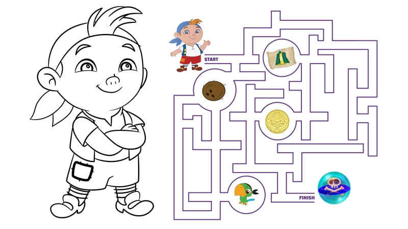 Cubby S Marble Raceway Maze Coloring Pages Disney Junior Jake And The Neverland Coloring Pages To Print