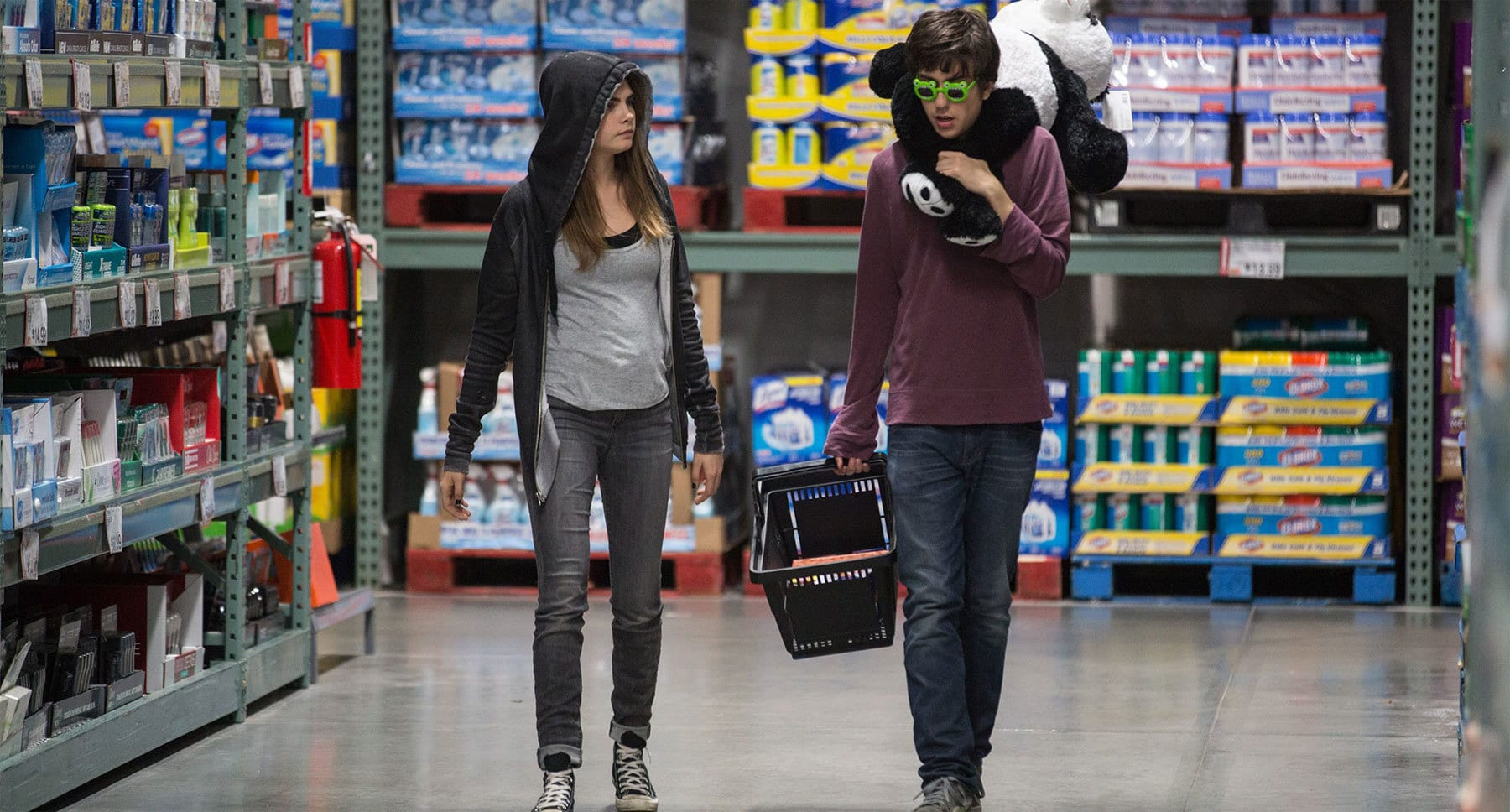 "Nat Wolff (as Quentin) and Cara Delevingne (as Margo) shopping in ""Paper Towns"""