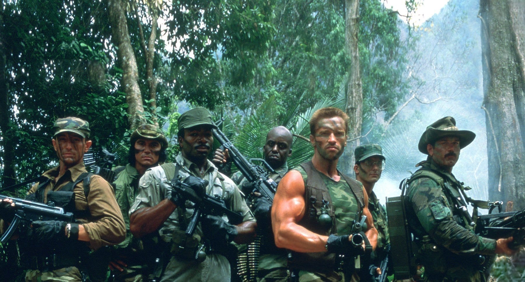 "Arnold Schwarzenegger, Shane Black, Jesse Ventura, Carl Weathers, Bill Duke, Richard Chaves and Sonny Landham in the movie ""Predator"""