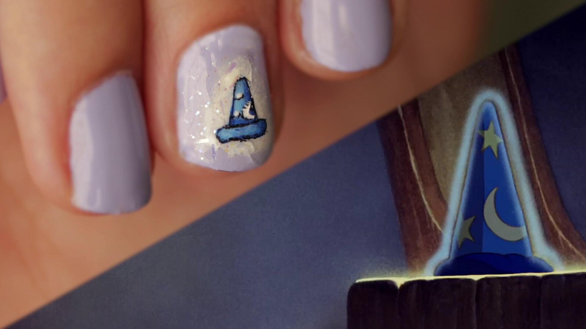 Sorcerer Mickey Hat Nail Art | Disney Style
