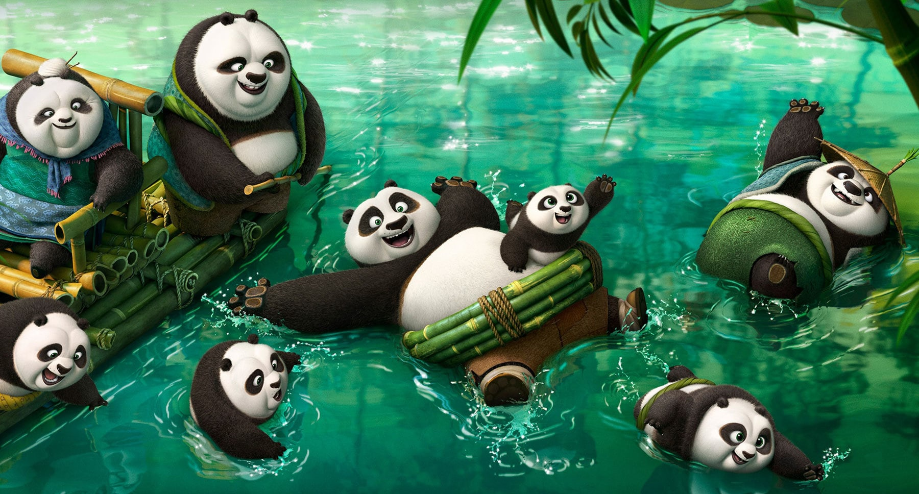 "Actors Wayne Knight, Jack Black, Barbara Dirickson and Al Roker as pandas in the movie ""Kung Fu Panda 3"""