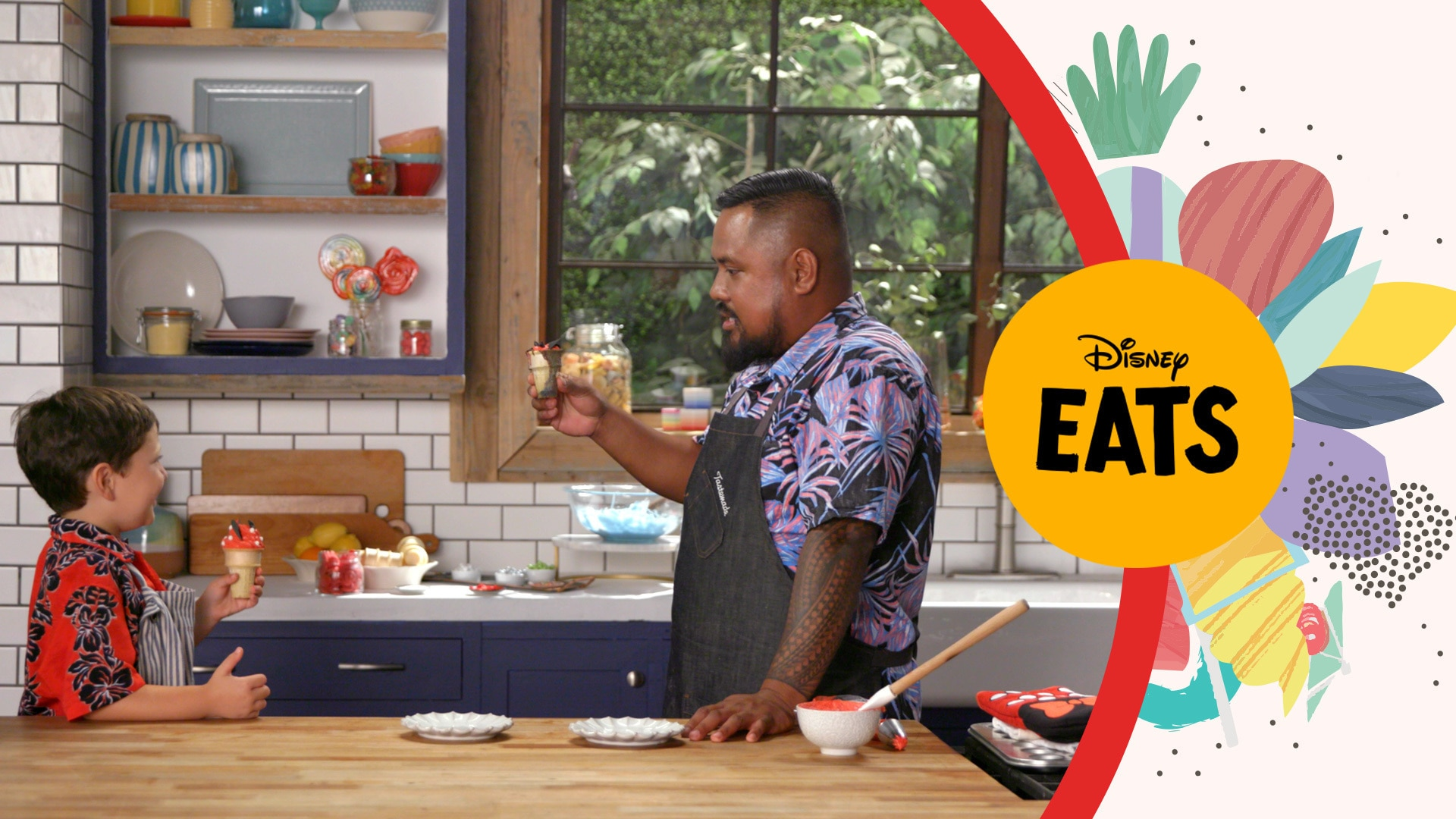 Chef Sheldon Simeon and James Have A Cupcake Cone Party   Kitchen Little: Disney Eats Edition