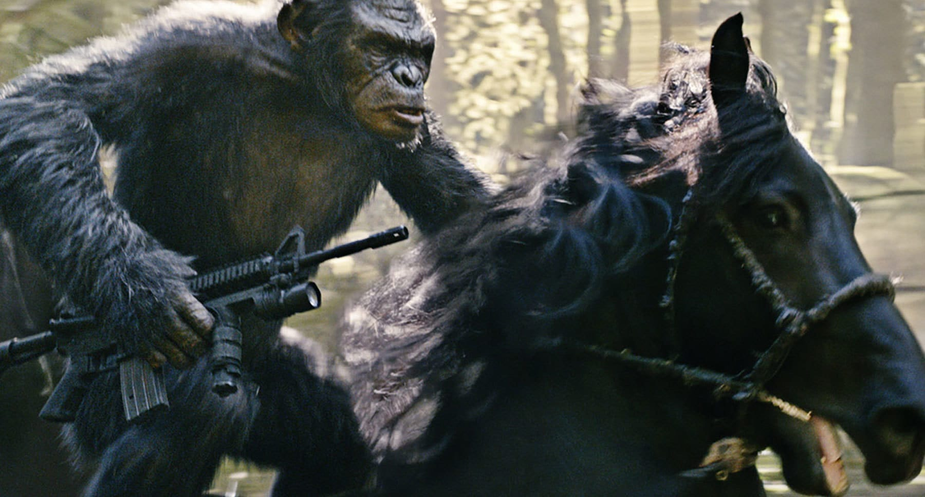 "Koba (ape character played by Toby Kebbell) holding a gun riding a horse in the movie ""Dawn Of The Planet Of The Apes"""