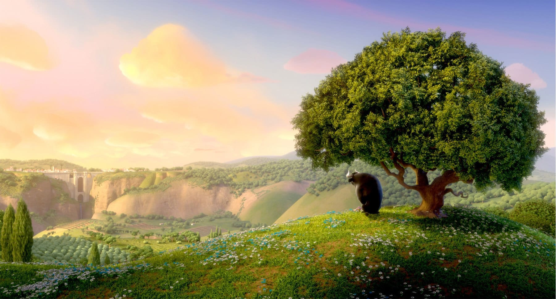 "Ferdinand the bull under a tree from the movie ""Ferdinand"""