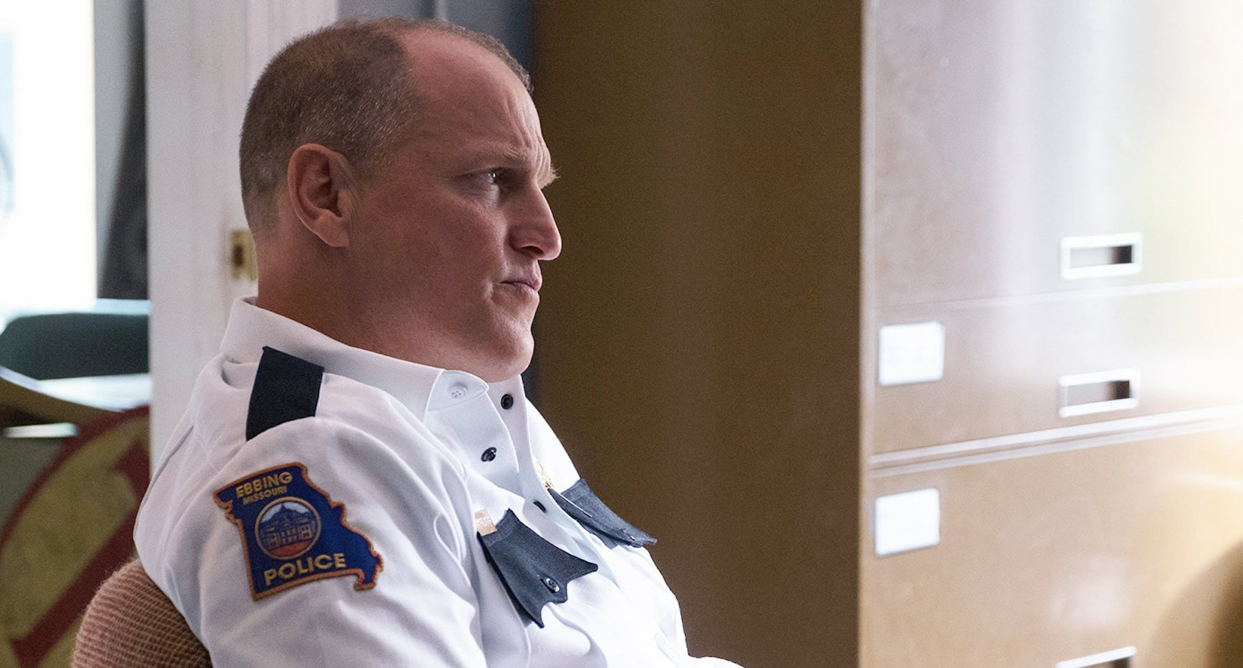 "Woody Harrelson as chief of police Willoughby in ""Three Billboards Outside Ebbing, Missouri"""