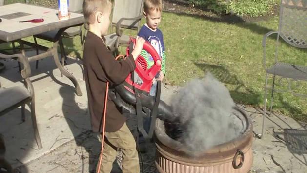 Leafblower + Ash = Messy Fun