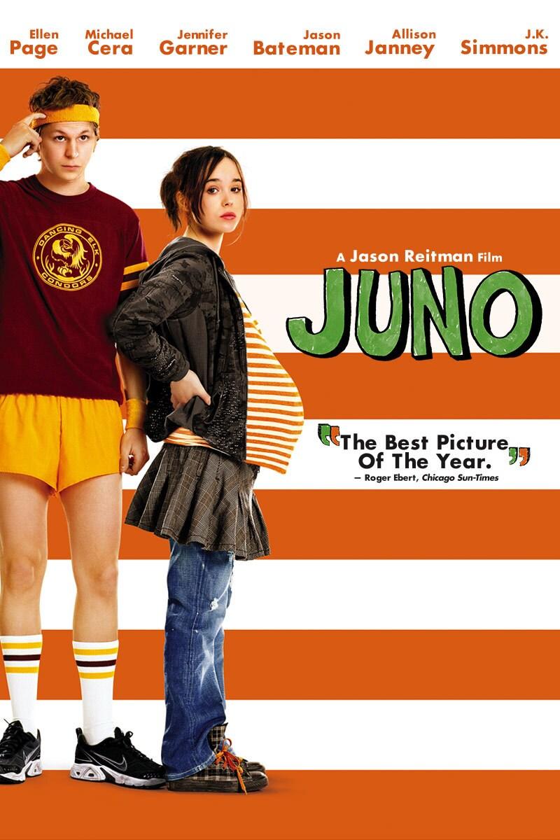 "Movie poster for ""Juno"" starring Ellen Page, Michael Cera, Jennifer Garner, Jason Bateman, Allen Janney and J.K. Simmons"