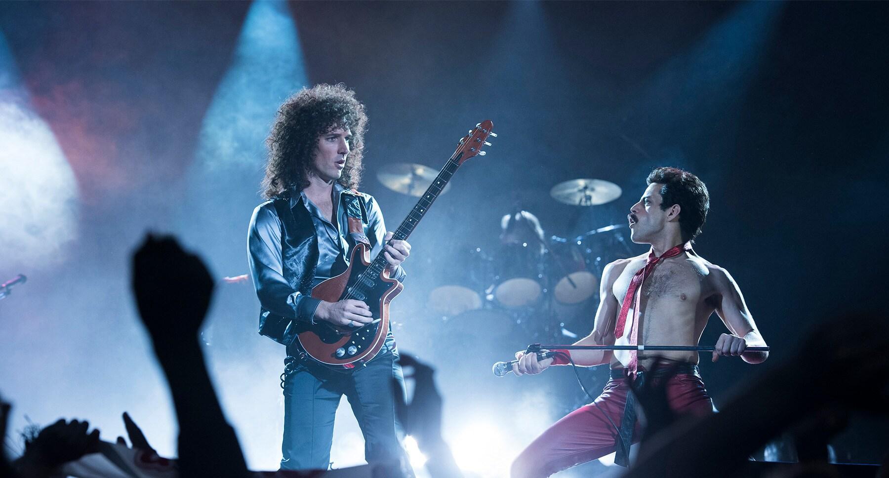 """Actors Rami Malek (as Freddie Mercury) and Gwilym Lee (as Brian May) in the movie """"Bohemian Rhapsody"""""""