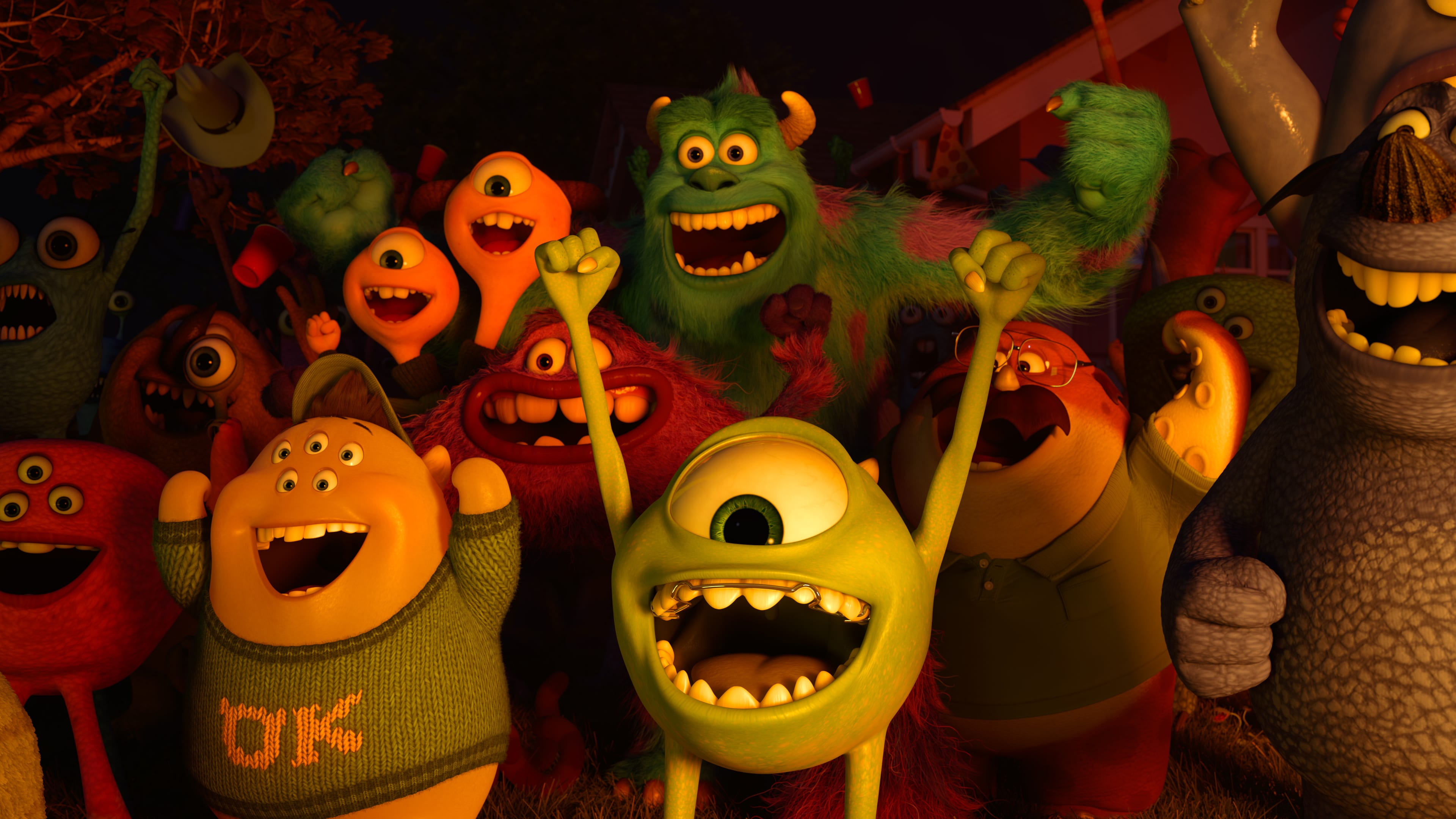 Mike (voiced by Billy Crystal), Sully (voiced by John Goodman), Terry (voiced by Dave Foley), Terri (voiced by Sean Hayes), Art (voiced by Charlie Day), Don (voiced by Joel Murray), and Squishy (voiced by Peter Sohn) in the Disney•Pixar movie Party Central.