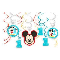 Mickey Mouse 1st Birthday Swirl Decorations 12-Piece Set