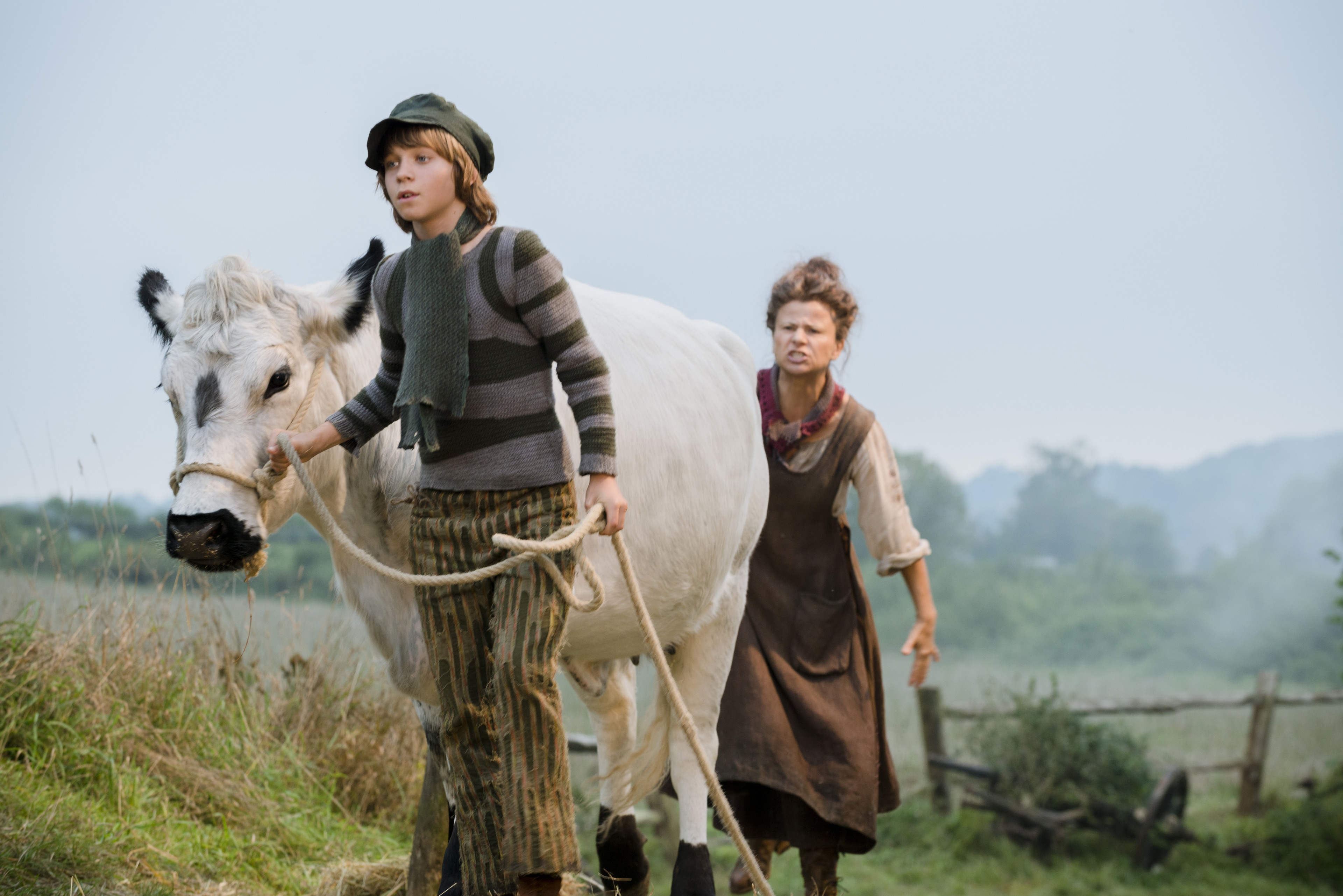 """Daniel Huttlestone as Jack and Tracey Ullman as his mother in """"Into the Woods"""""""