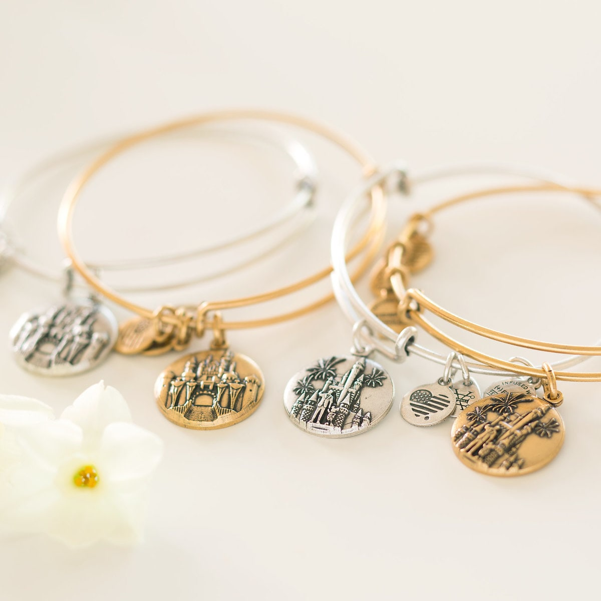 637a07953 Product Image of Cinderella Castle with Walt Disney and Mickey Mouse Bangle  by Alex and Ani