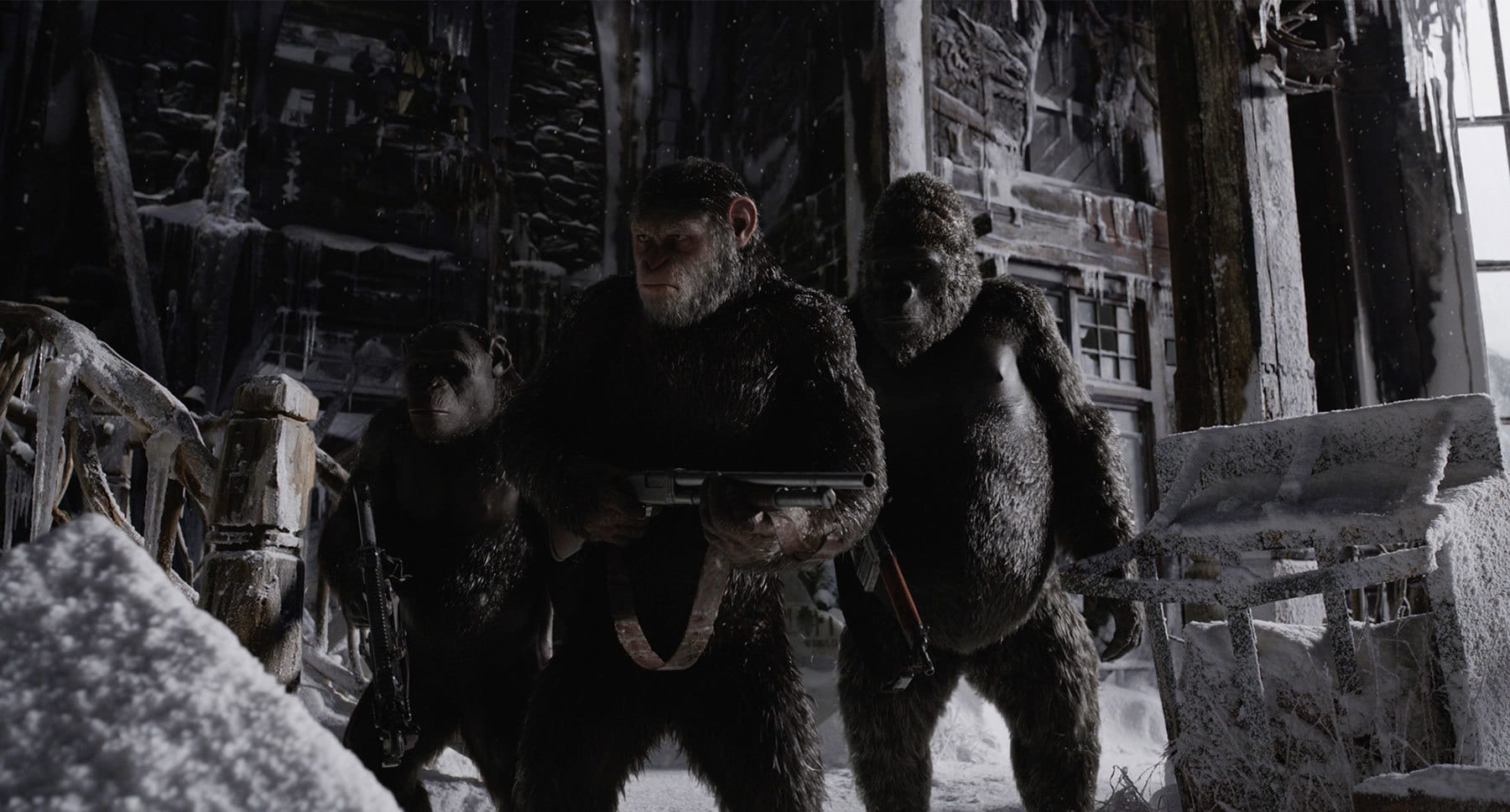 "Andy Serkis, Terry Notary, and Michael Adamthwaite in ""War for the Planet of the Apes"""