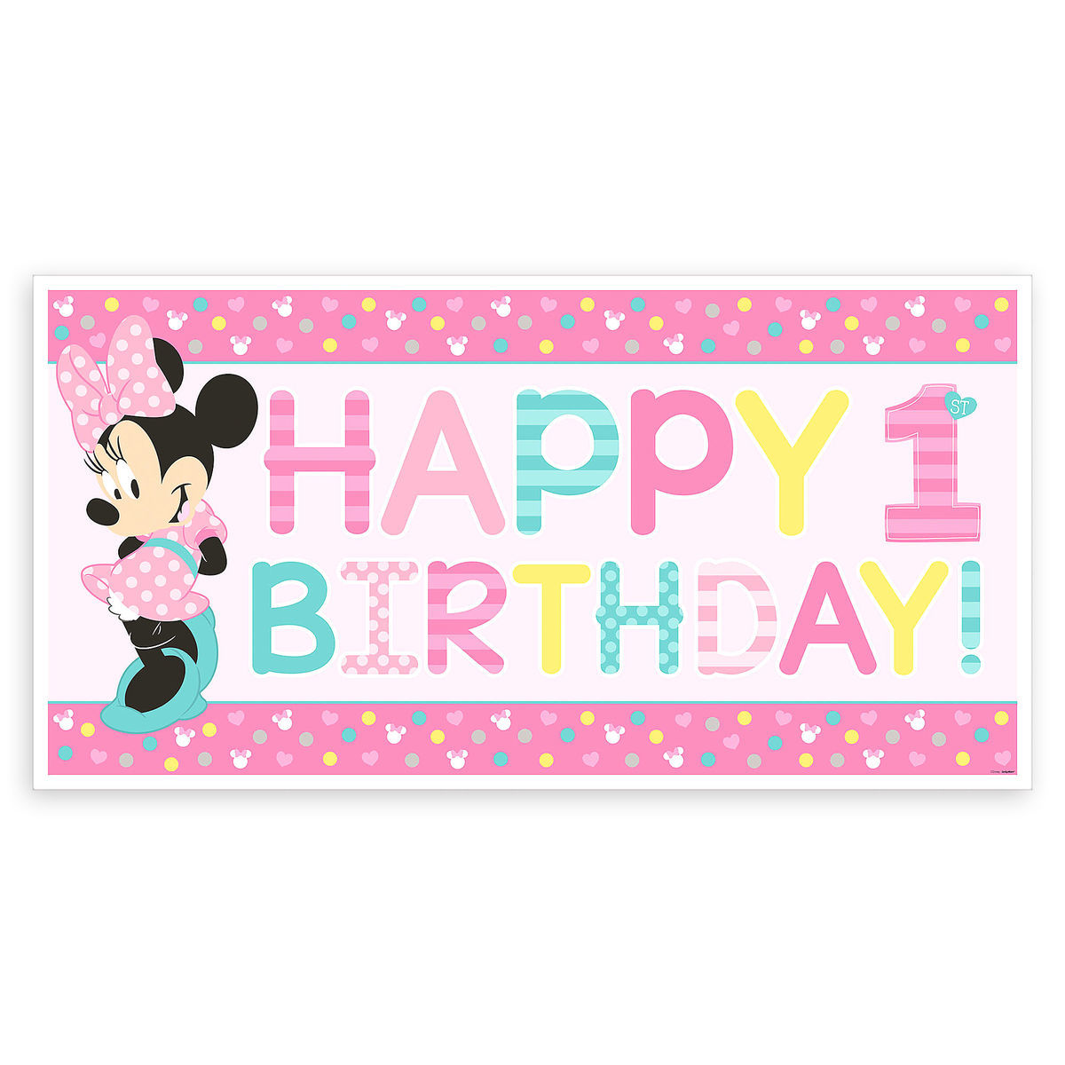 Product Image Of Minnie Mouse 1st Birthday Banner 1