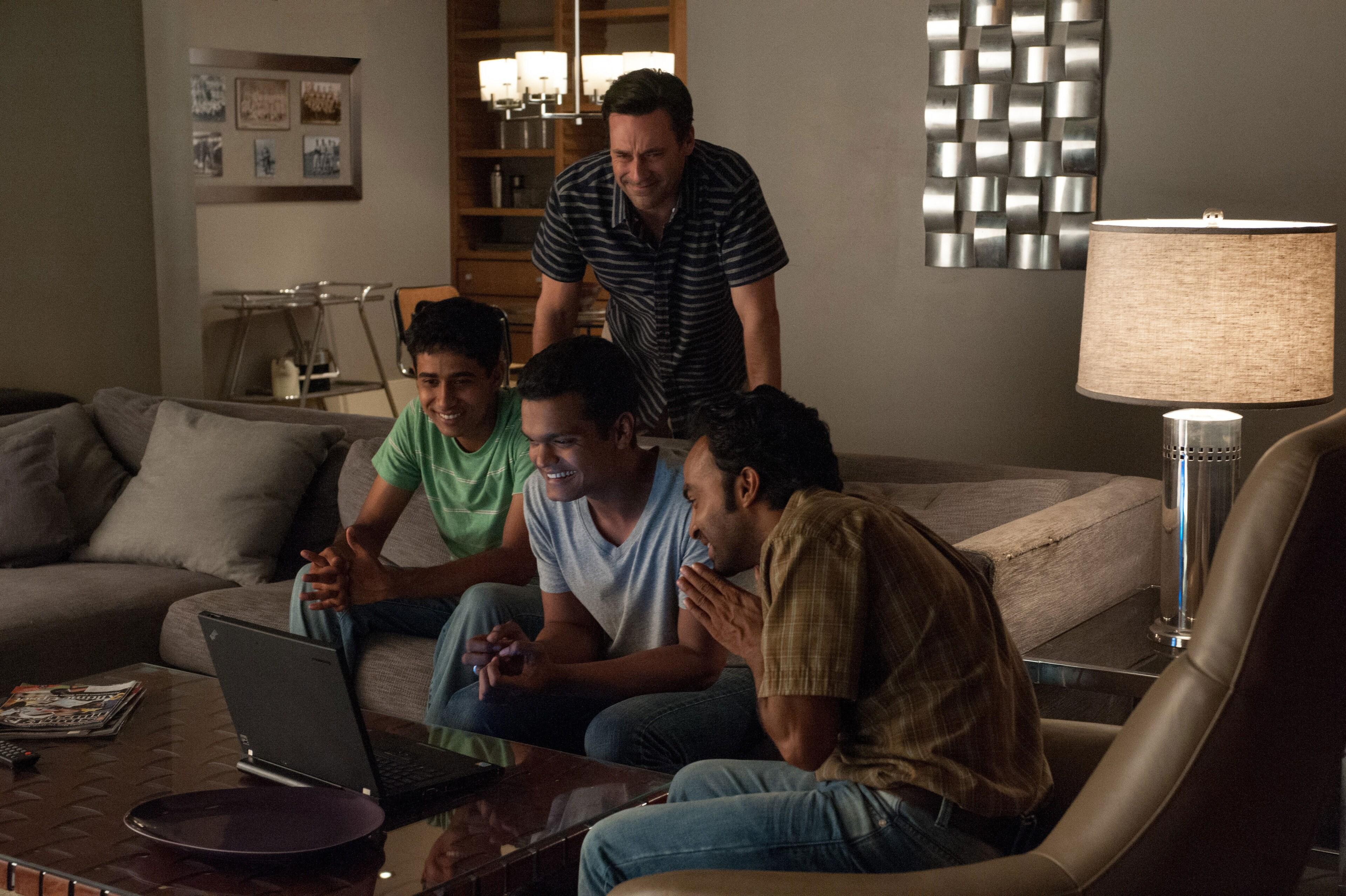 "Jon Hamm, Madhur Mittal, and Pitobash in ""Million Dollar Arm"""