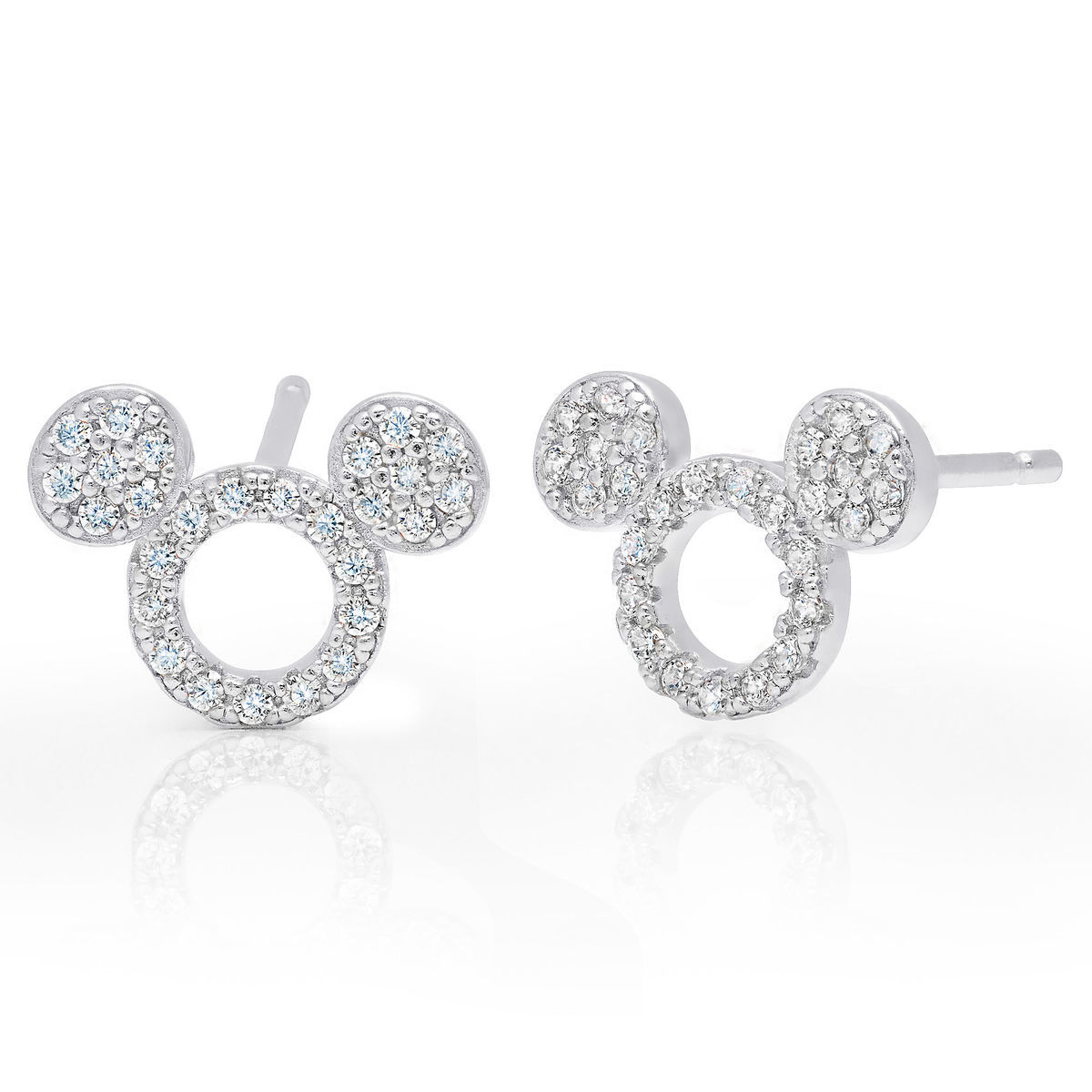 Product Image Of Mickey Mouse Icon Silhouette Stud Earrings By Crislu Platinum 1