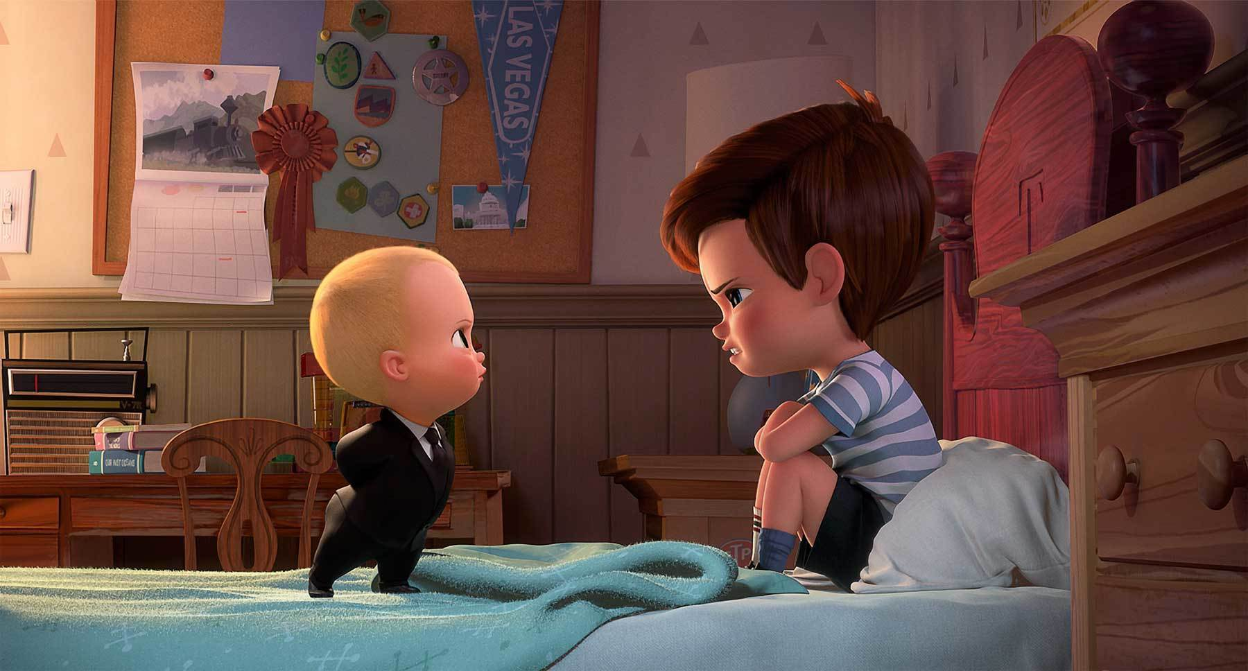 "Alec Baldwin (as The Boss Baby) and Miles Bakshi (as Tim Templeton) in the animated movie ""The Boss Baby"""