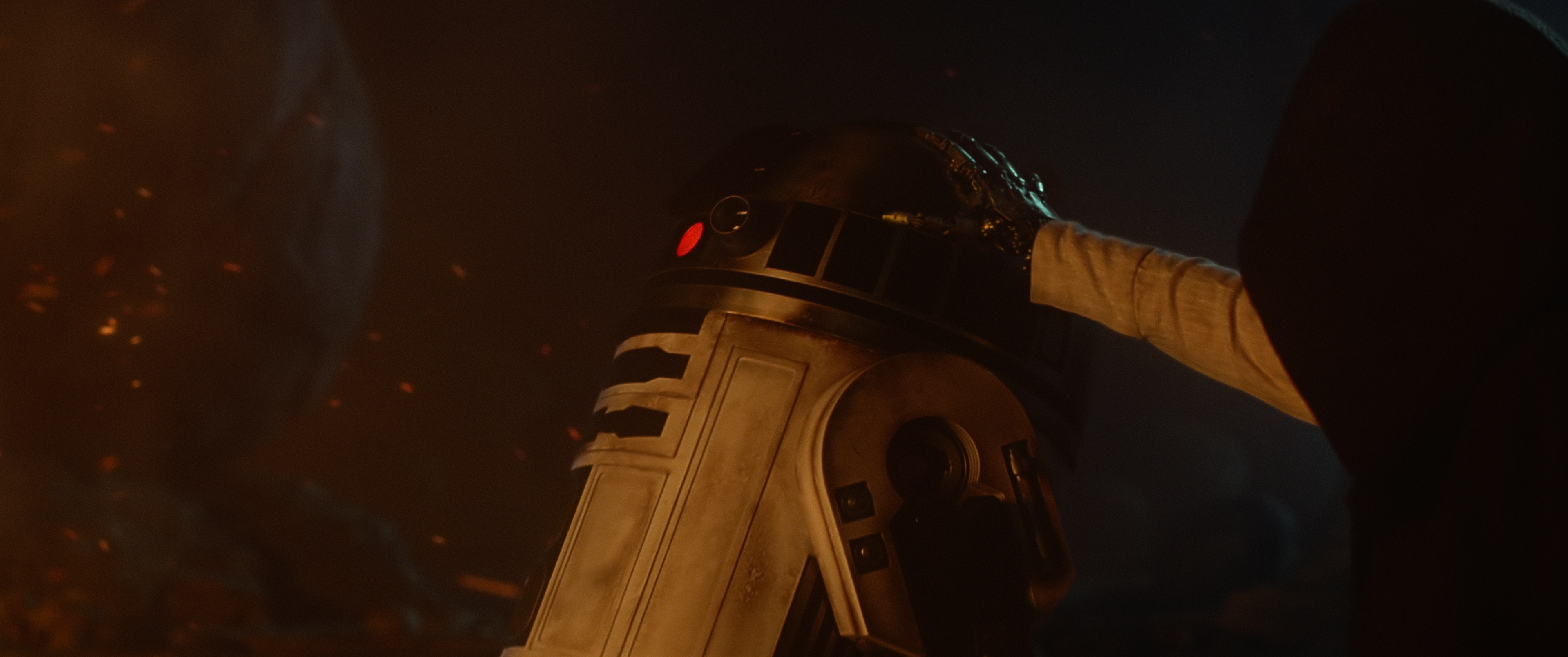 R2-D2 and a hooded character