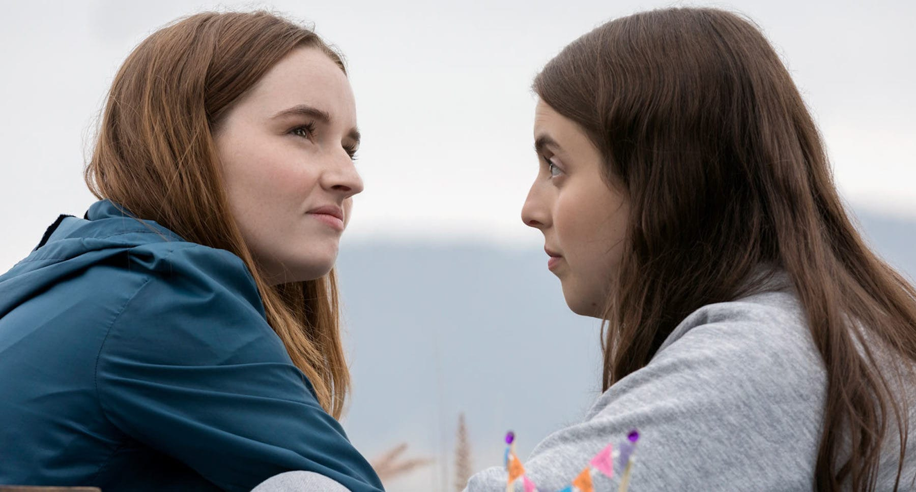 "Actors Kaitlyn Dever (as Amy) and Beanie Feldstein	(as Molly) in the movie ""Booksmart"""