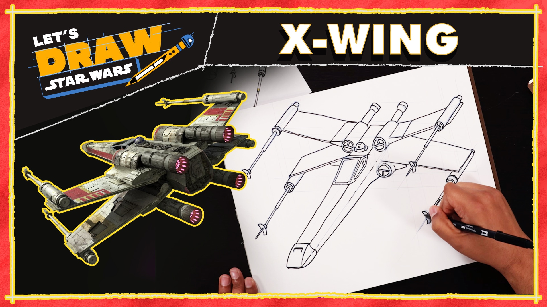 X-wing Drawing Tutorial   Let's Draw Star Wars