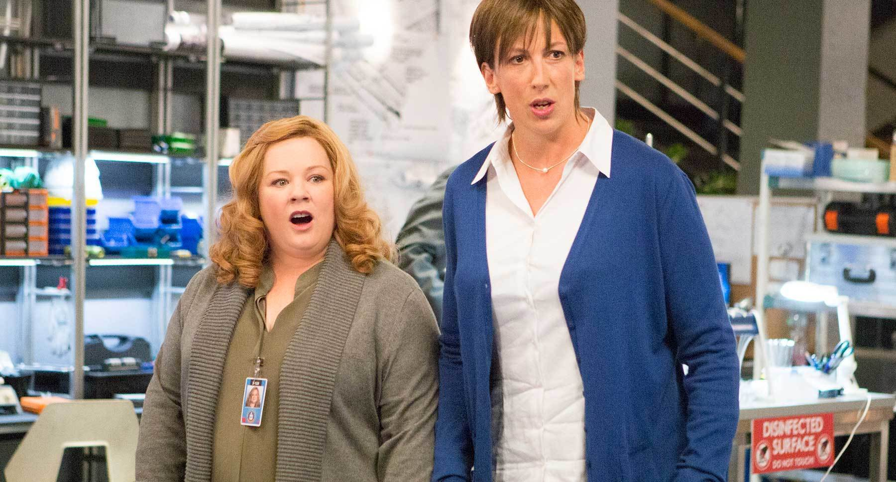 Melissa McCarthy (as Susan Cooper) and Miranda Hart (as Nancy B. Artingstall) in Spy