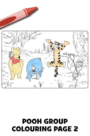 Winnie the Pooh Group Colouring Page