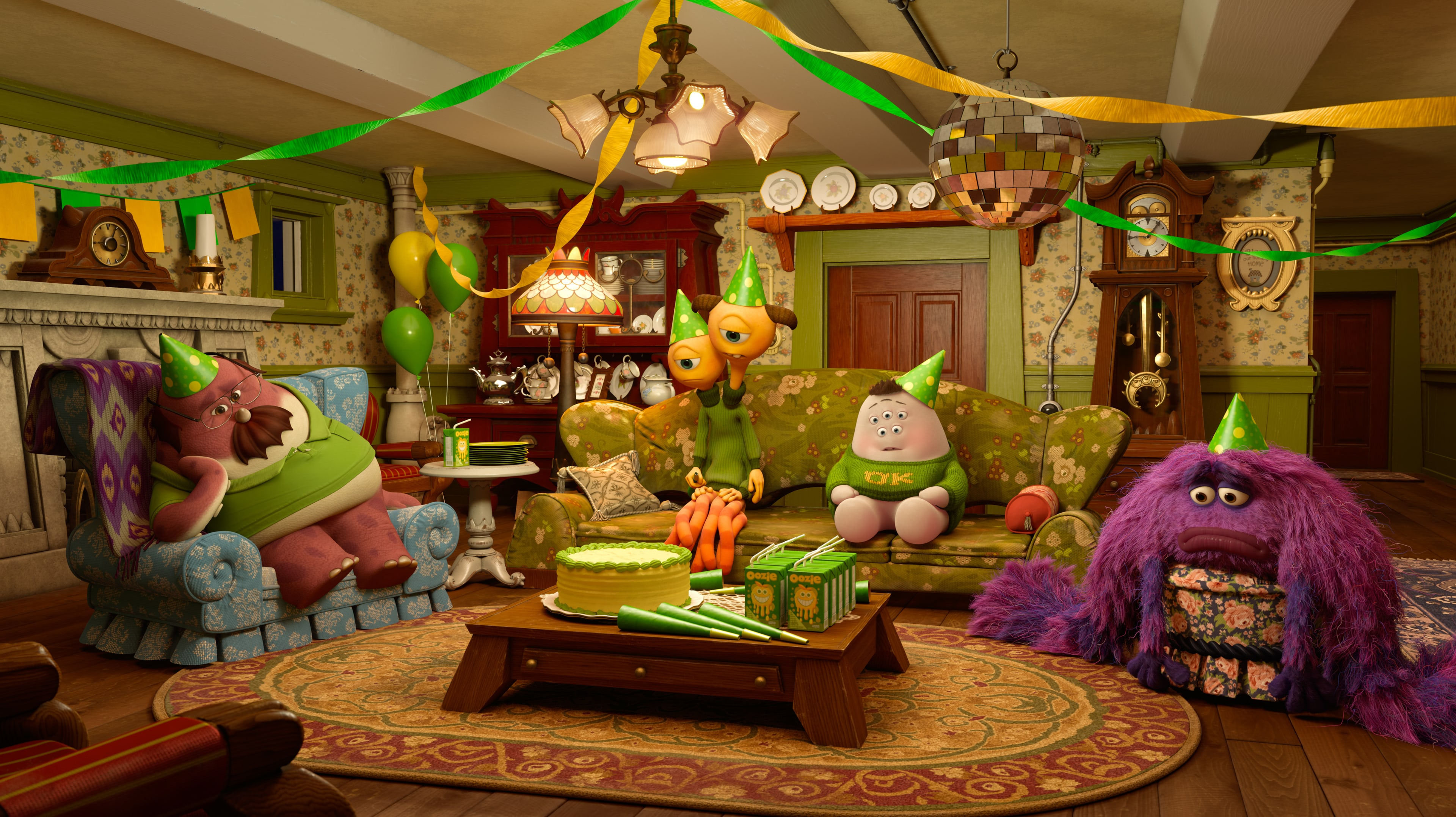 Mike (voiced by Billy Crystal), Sully (voiced by John Goodman), Terry (voiced by Dave Foley), Terri (voiced by Sean Hayes), Don (voiced by Joel Murray), and Squishy (voiced by Peter Sohn) in the Disney•Pixar movie Party Central.