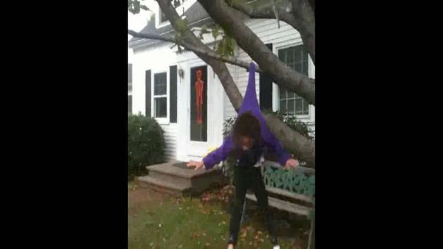 Girl Gets Caught in Tree