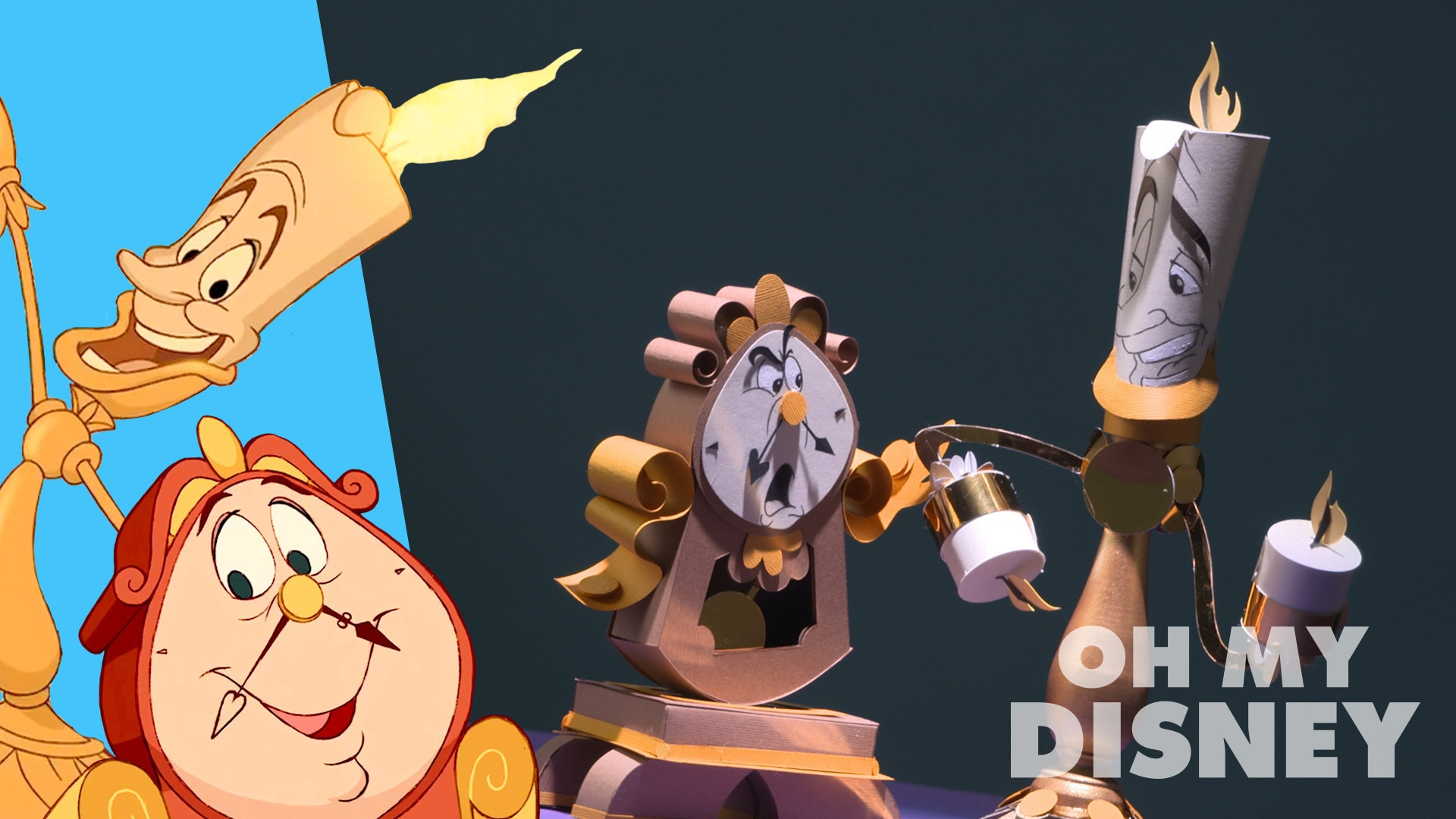 Beauty and the Beast's Lumiere and Cogsworth Paper Sculpture | Sketchbook by Oh My Disney