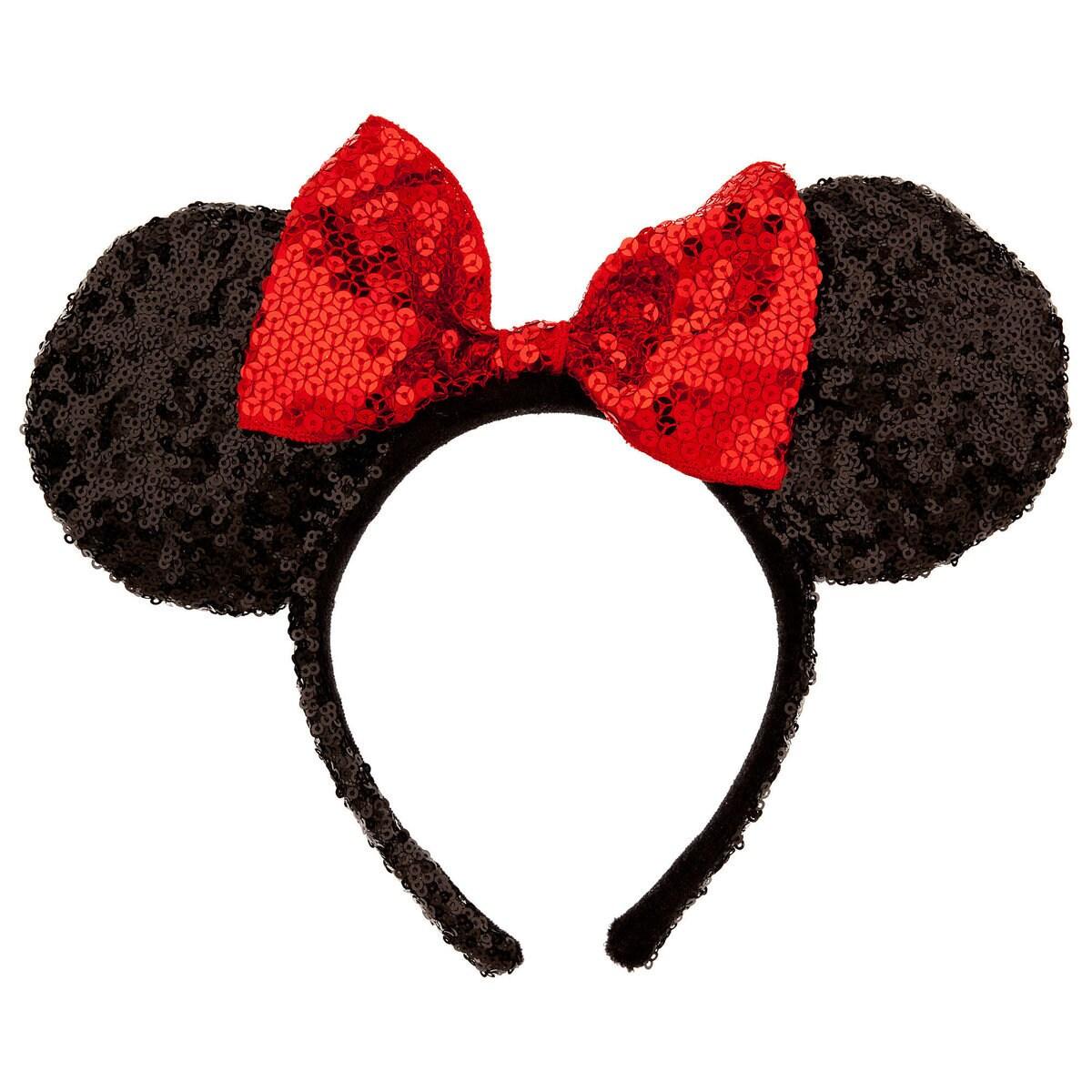 White floral minnie ears black bow customized name flowers disneyland  mickey ears disn