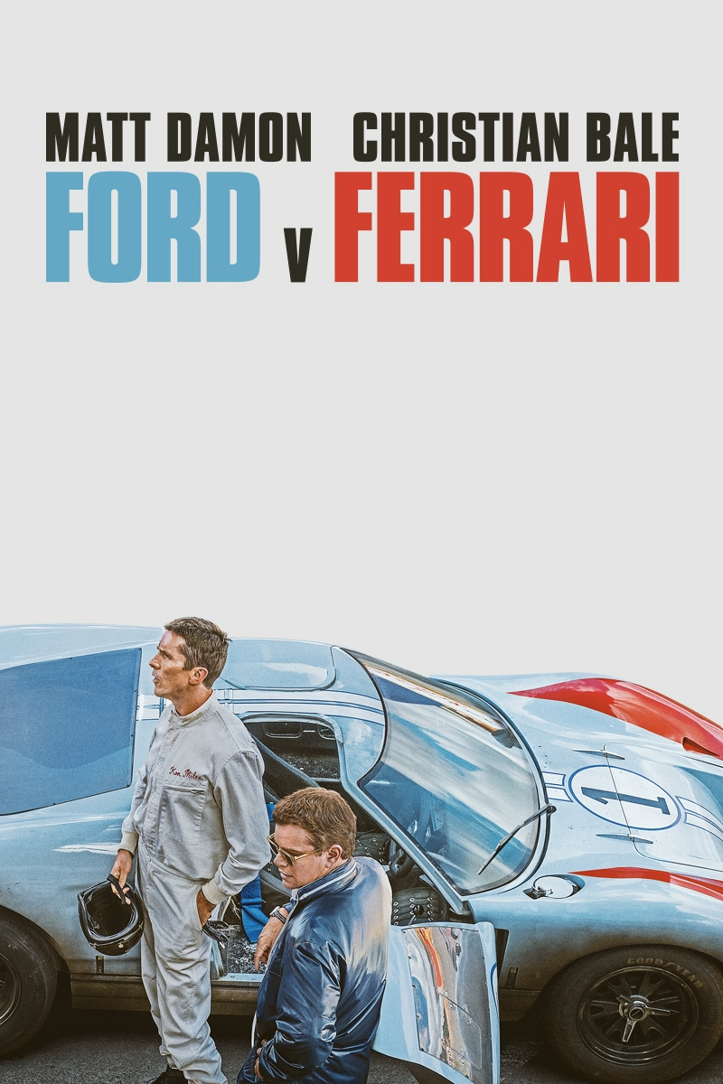 Ford v Ferrari starring Matt Damon and Christian Bale movie poster