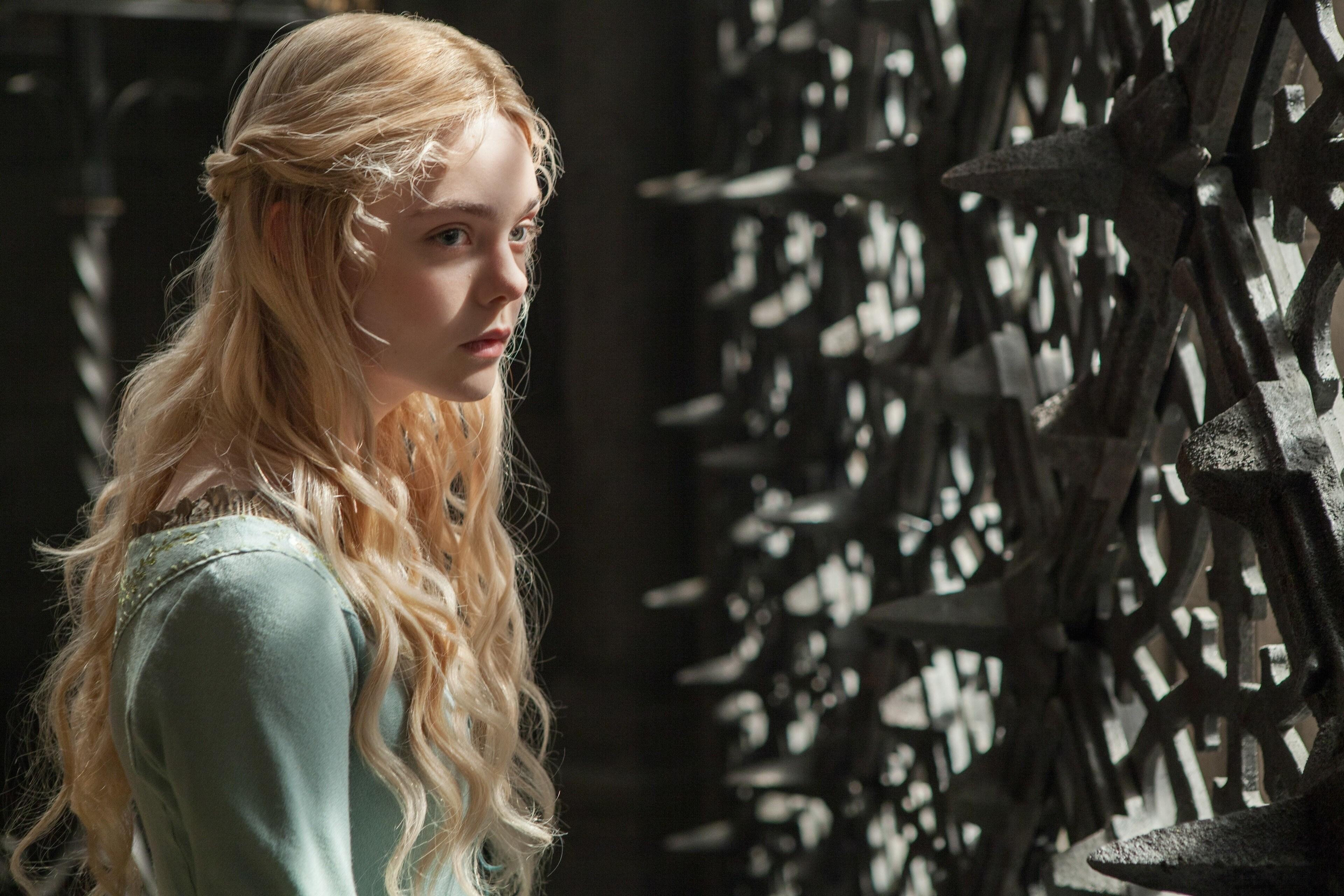 "Elle Fanning as Aurora in the movie ""Maleficent"""