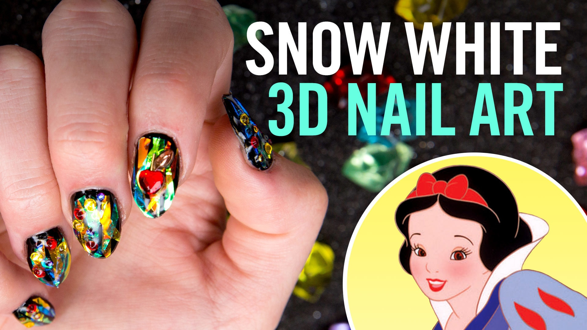 Snow White Gems Nail Art