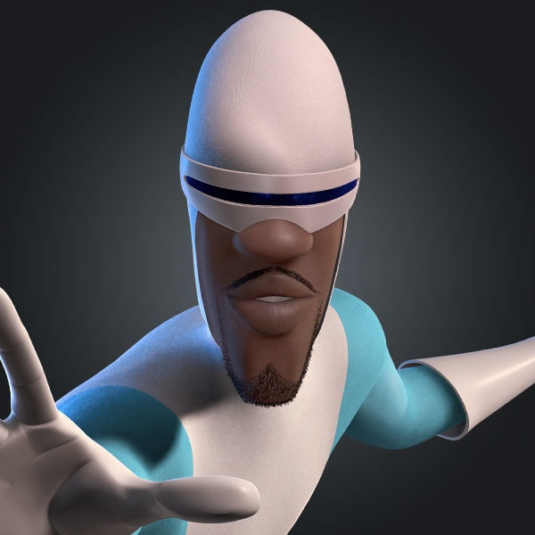 Frozone / Lucius Best, voiced by Samuel L. Jackson, in The Incredibles and Incredibles 2
