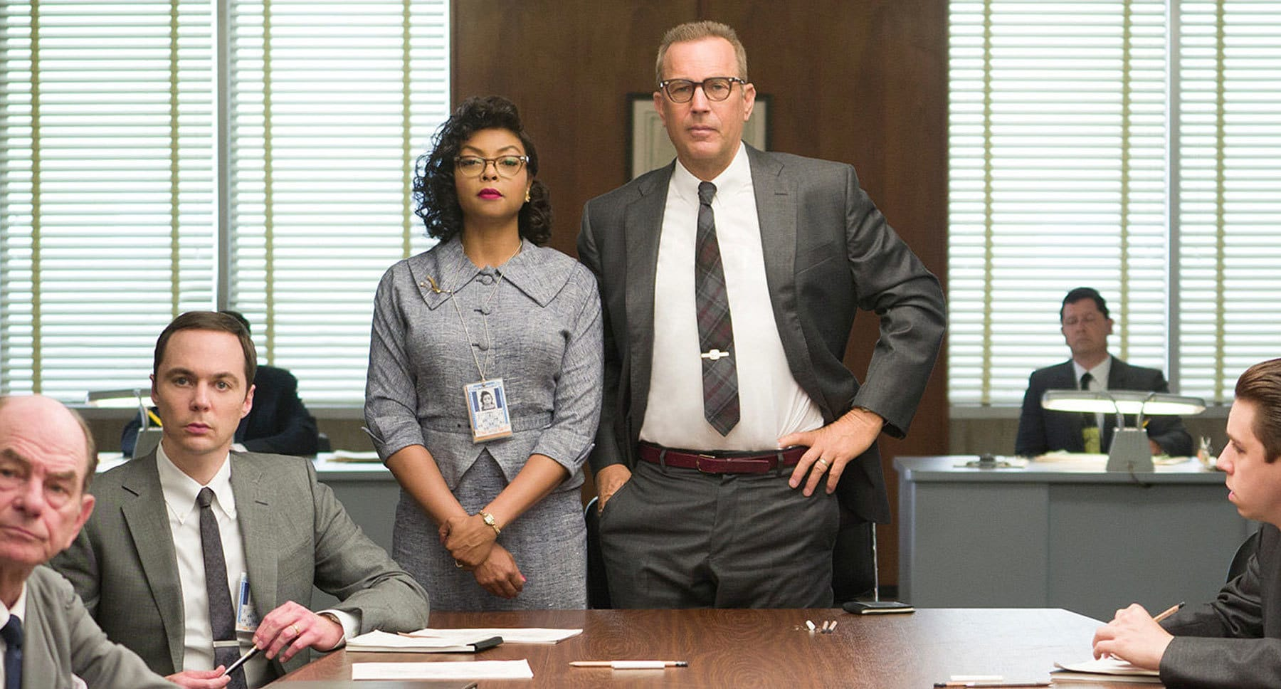 "Actors Taraji P. Henson and Kevin Costner at a NASA meeting in the movie ""Hidden Figures"""