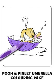 Winnie and Piglet Umbrella Colouring Page
