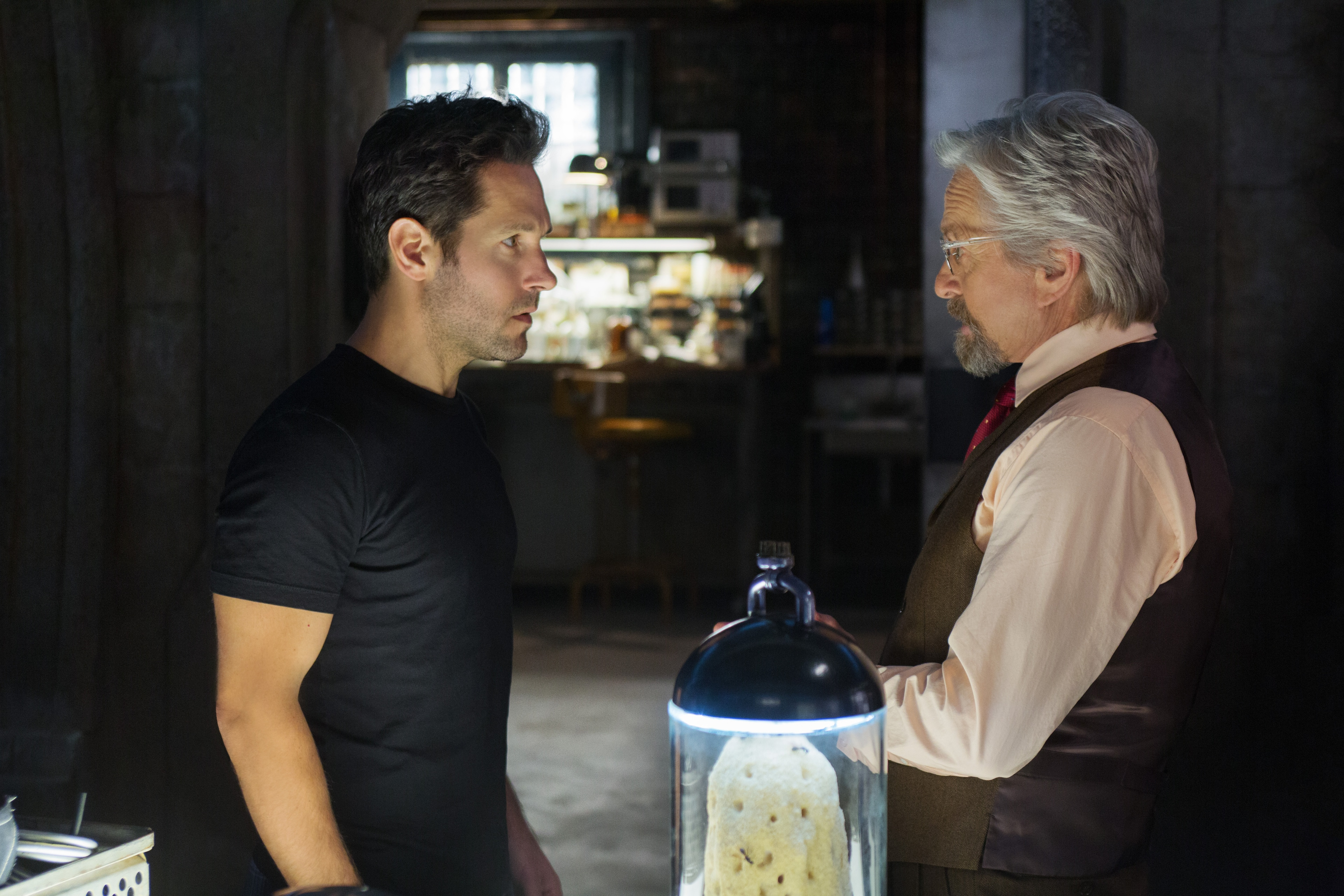 Paul Rudd (as Scott Lang) and Michael Douglas (as Hank Pym) in Ant-Man