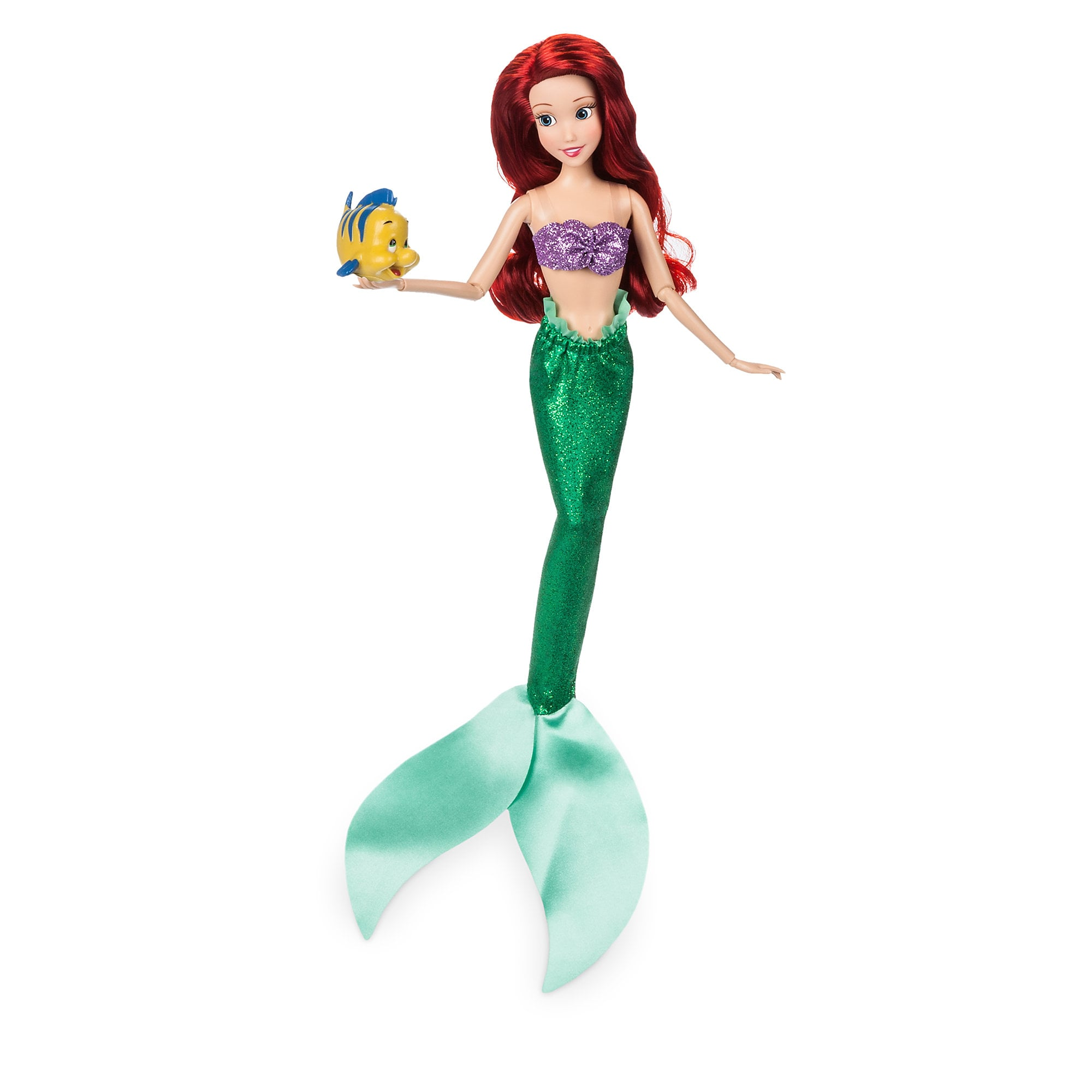Ariel Classic Doll with Flounder Figure - 11 1/2''