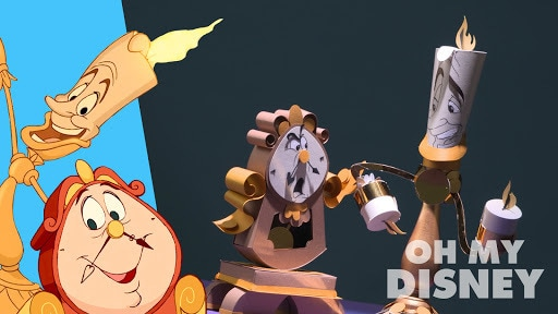 Beauty and the Beasts Lumiere and Cogsworth Paper Sculpture | Sketchbook by Oh My Disney