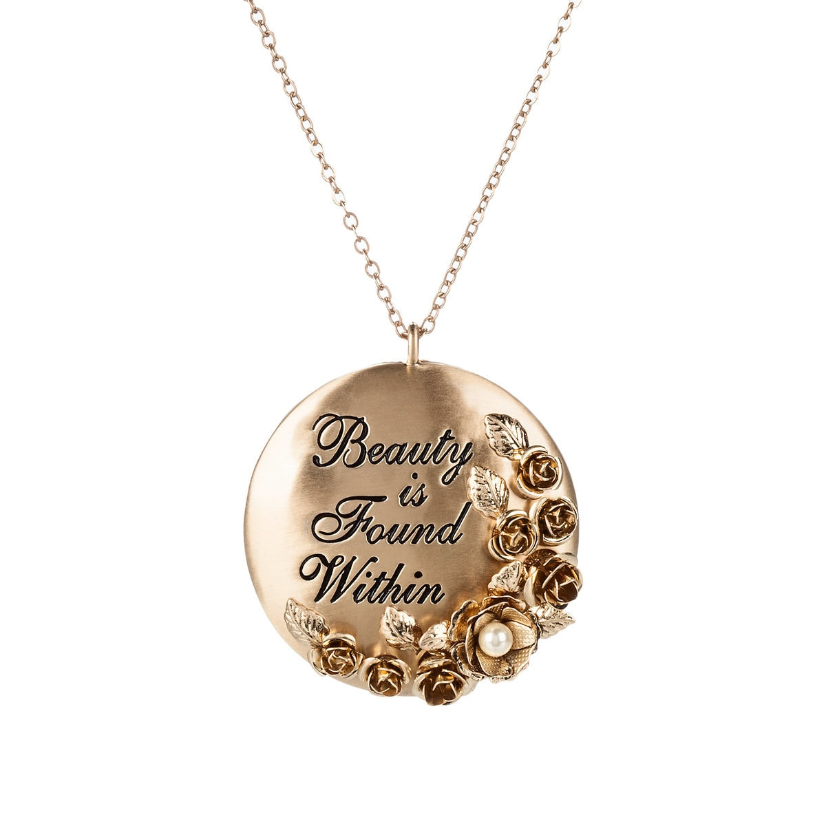 necklace disney locket plated lies beauty the gold beast within and