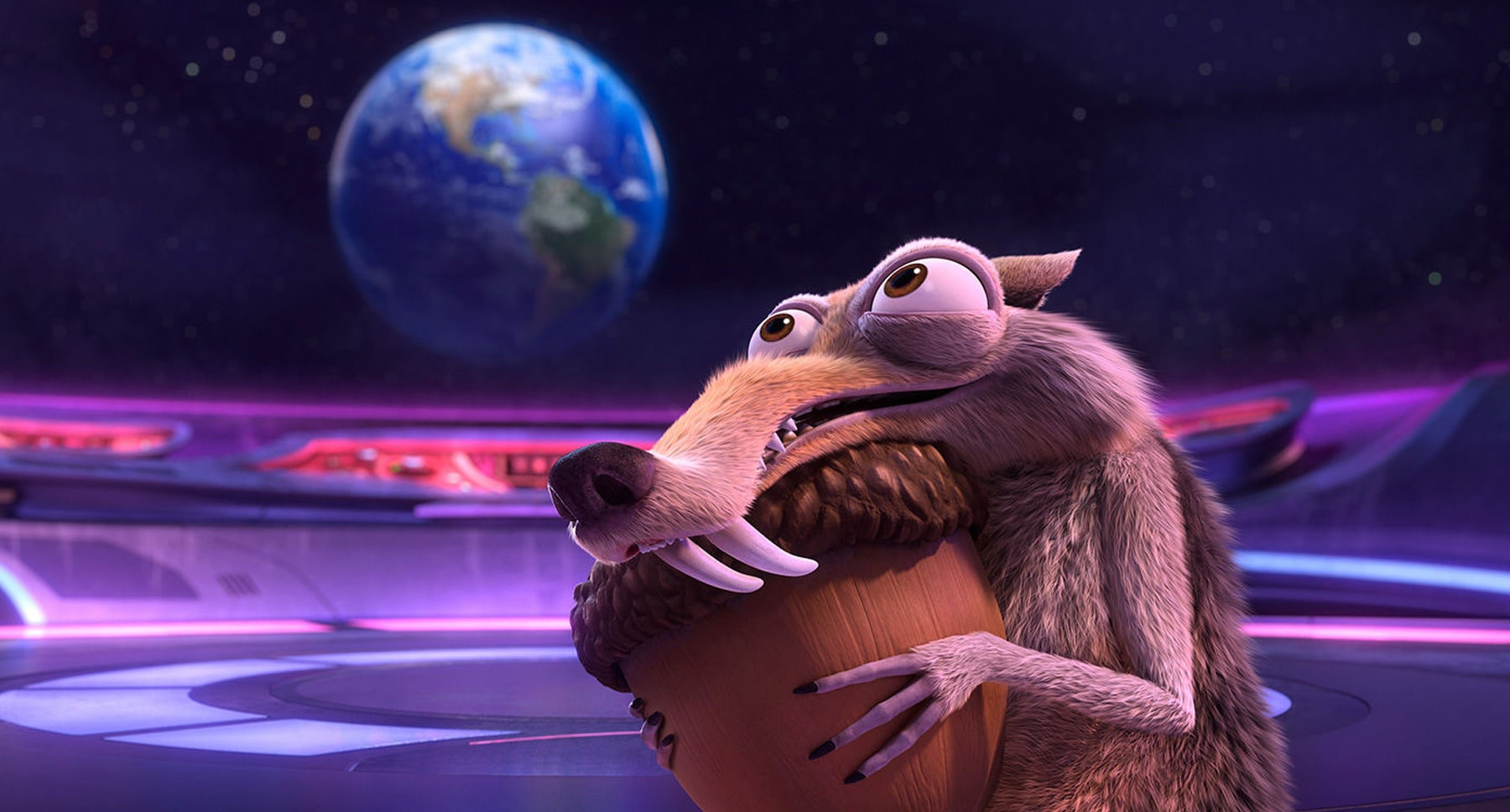 "Actor Chris Wedge as Scrat holding an acorn in the movie ""Ice Age: Collision Course"""