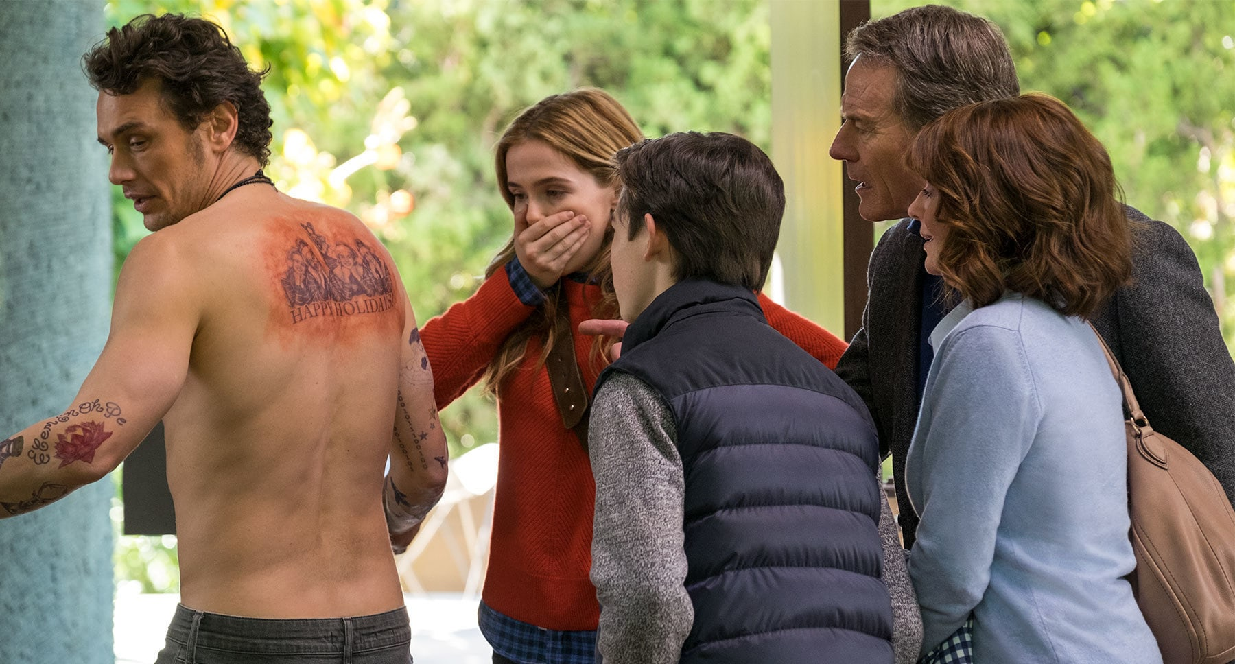 "Megan Mullally, Bryan Cranston, James Franco, Zoey Deutch, and Griffin Gluck in"" Why Him?"""